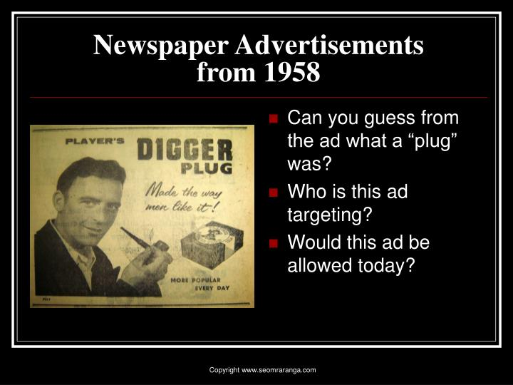Newspaper advertisements from 19583