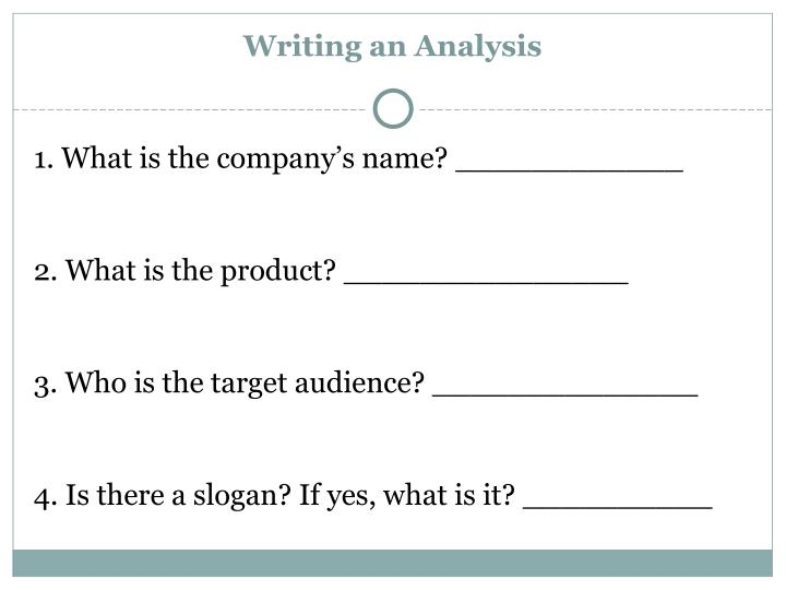 Writing an Analysis