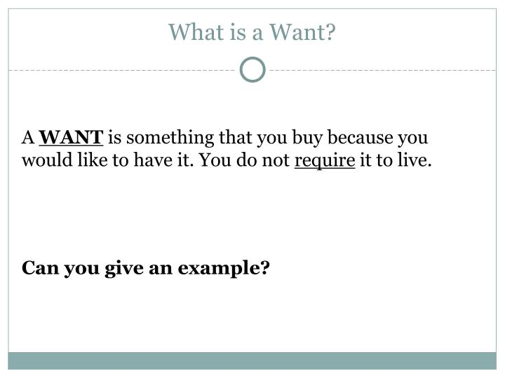 What is a Want?