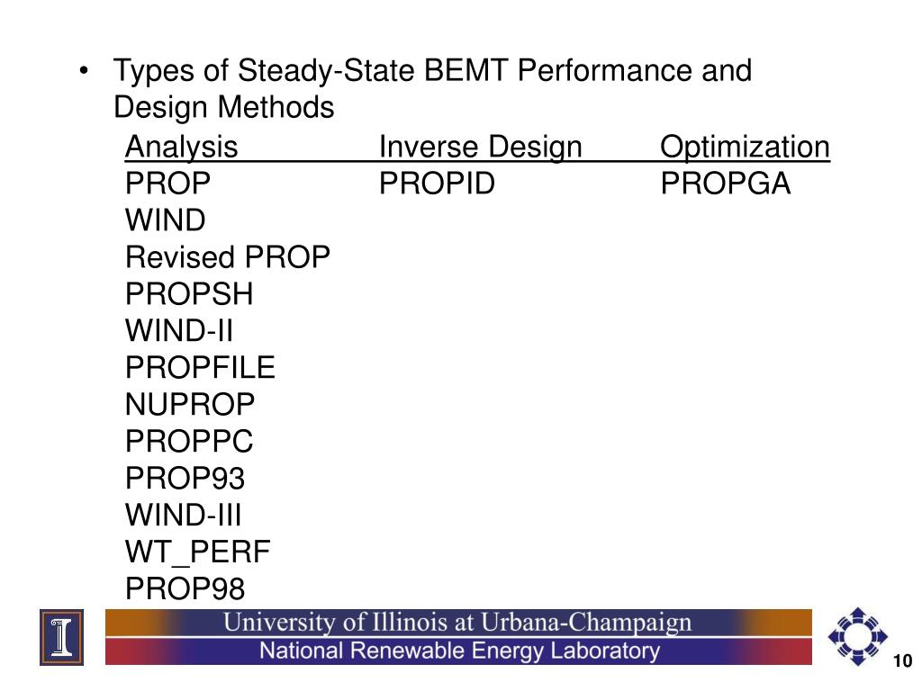 Types of Steady-State BEMT Performance and Design Methods