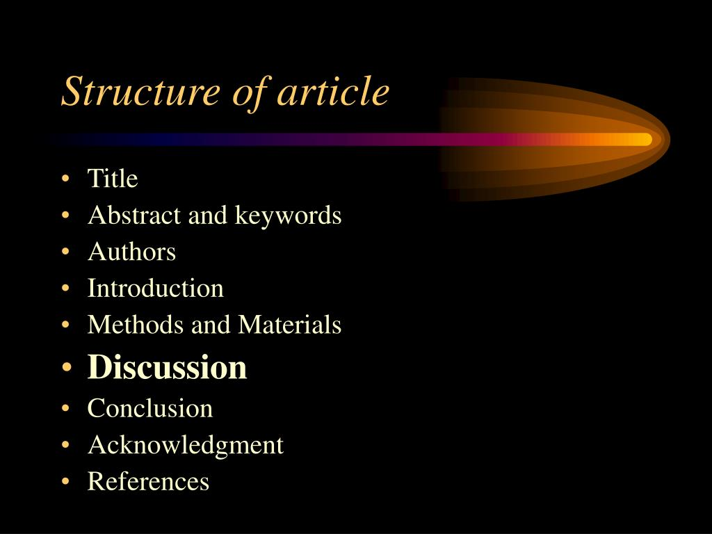 Structure of article