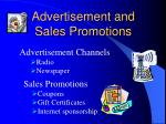 advertisement and sales promotions