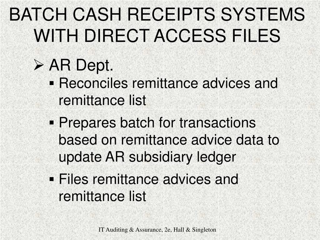 BATCH CASH RECEIPTS SYSTEMS WITH DIRECT ACCESS FILES