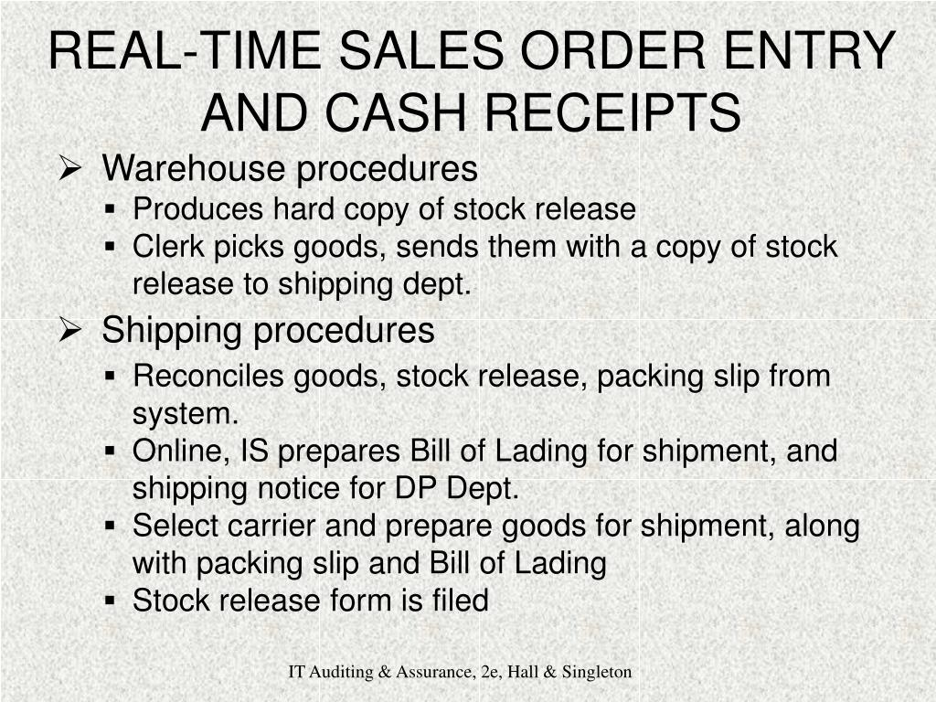 REAL-TIME SALES ORDER ENTRY AND CASH RECEIPTS
