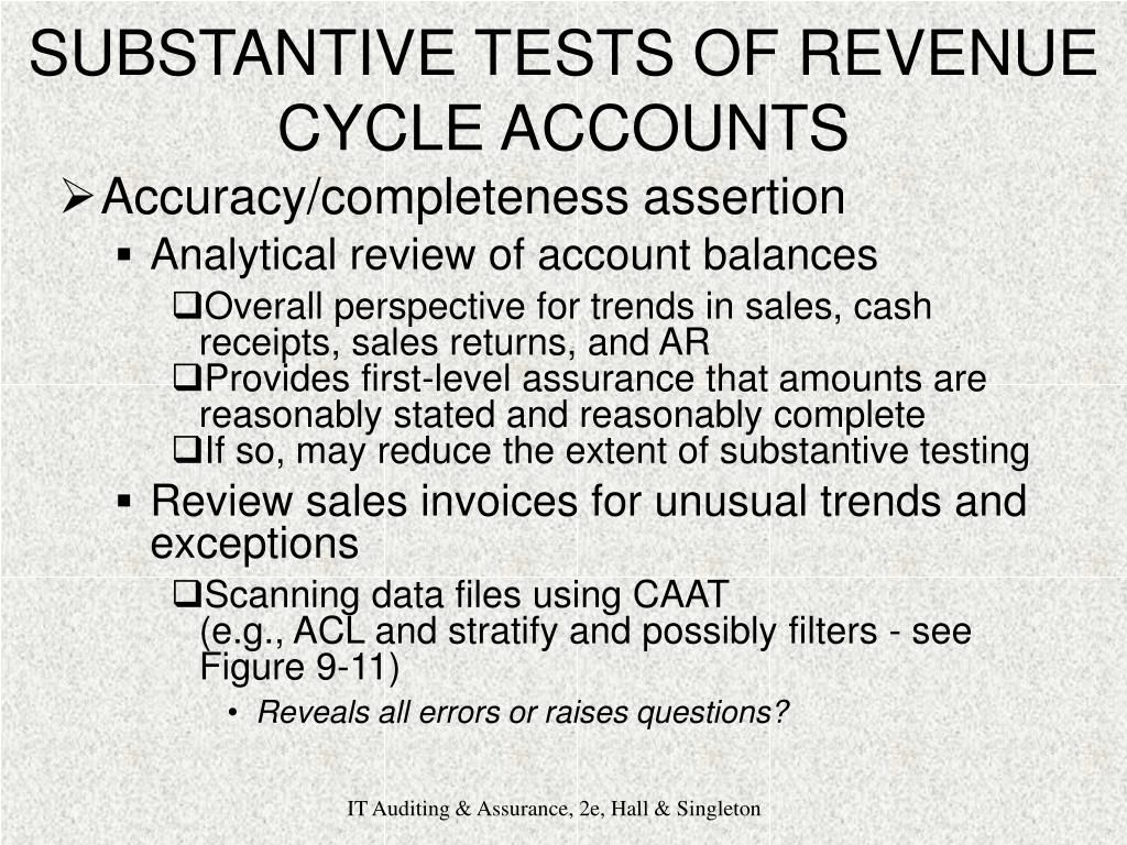 SUBSTANTIVE TESTS OF REVENUE CYCLE ACCOUNTS