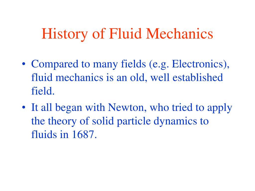 History of Fluid Mechanics