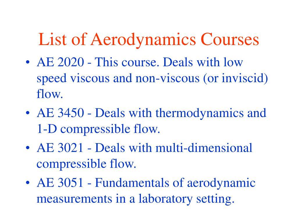 List of Aerodynamics Courses