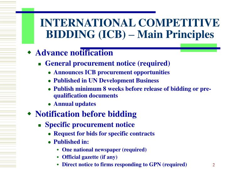 International competitive bidding icb main principles