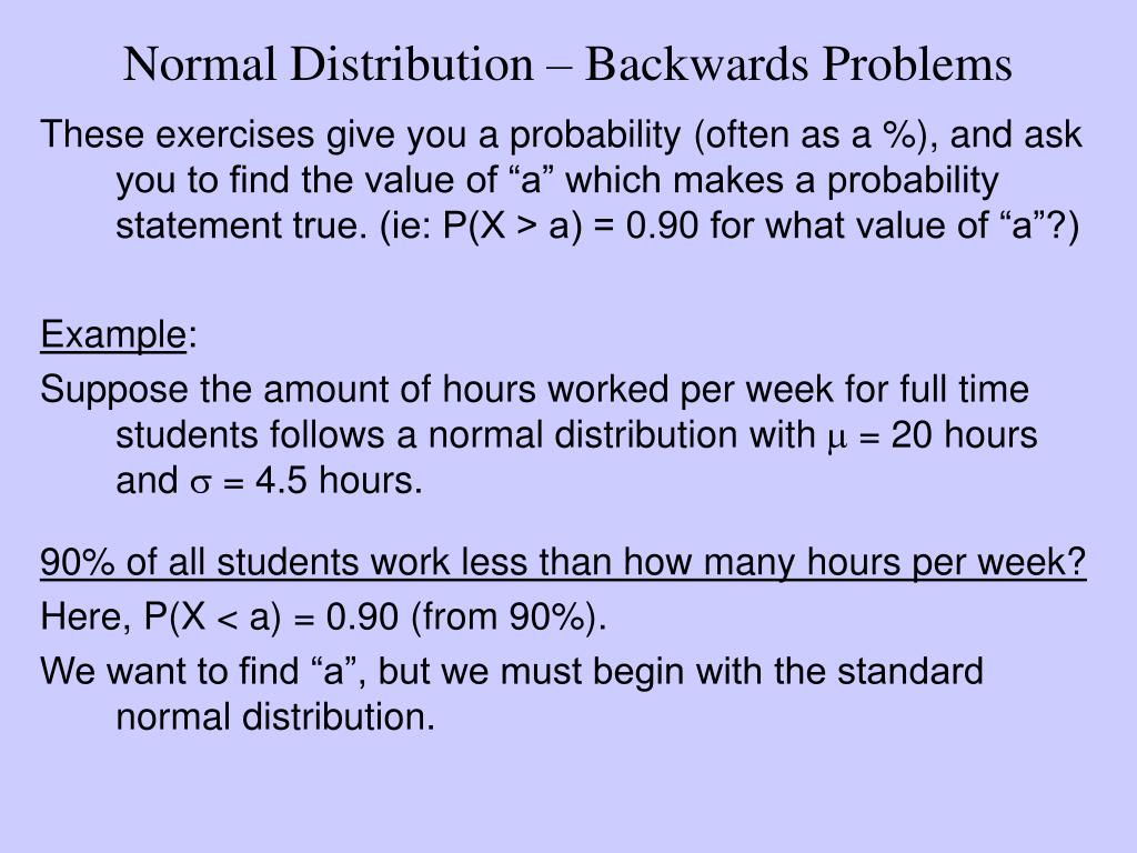 Normal Distribution – Backwards Problems
