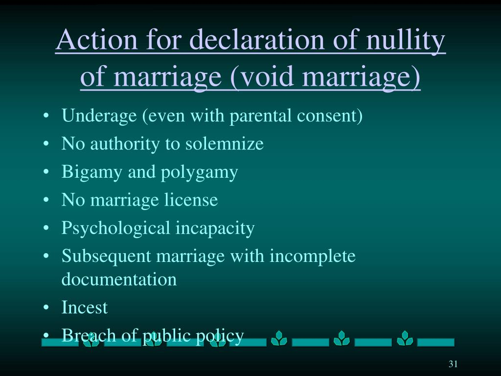 Action for declaration of nullity of marriage (void marriage)