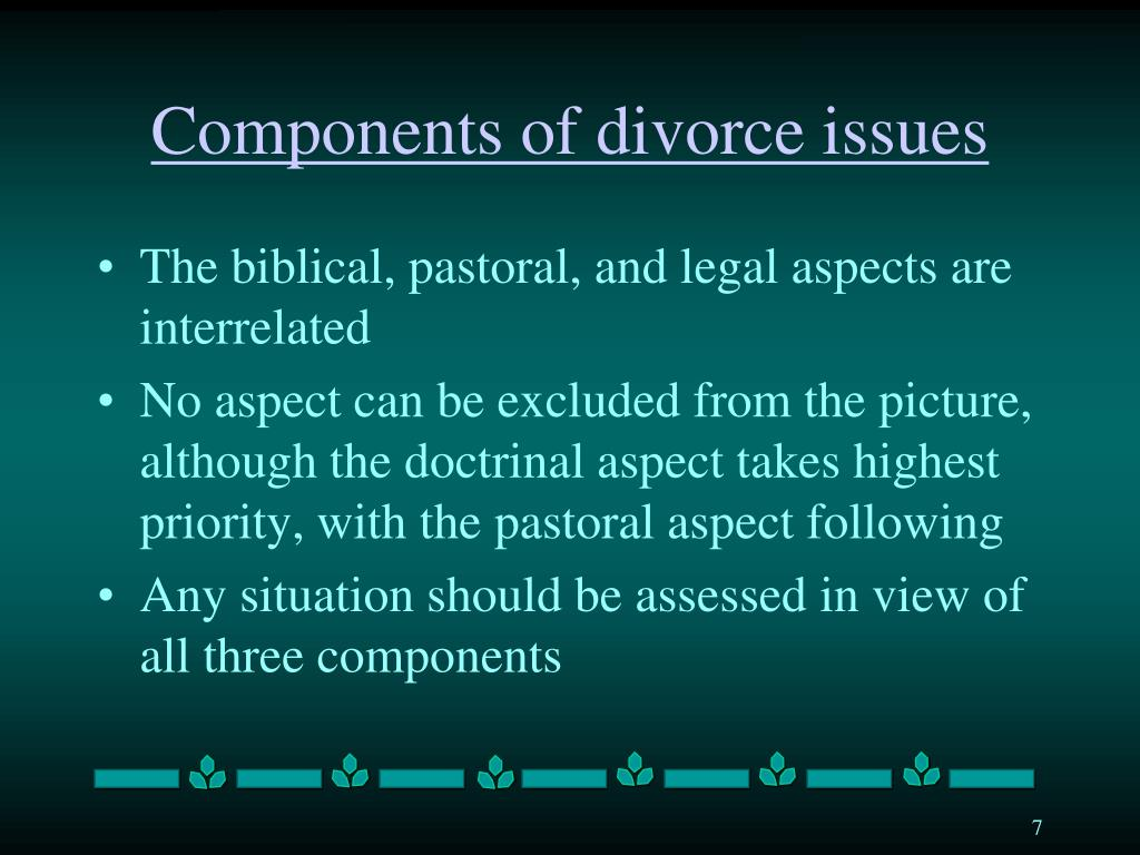 Components of divorce issues