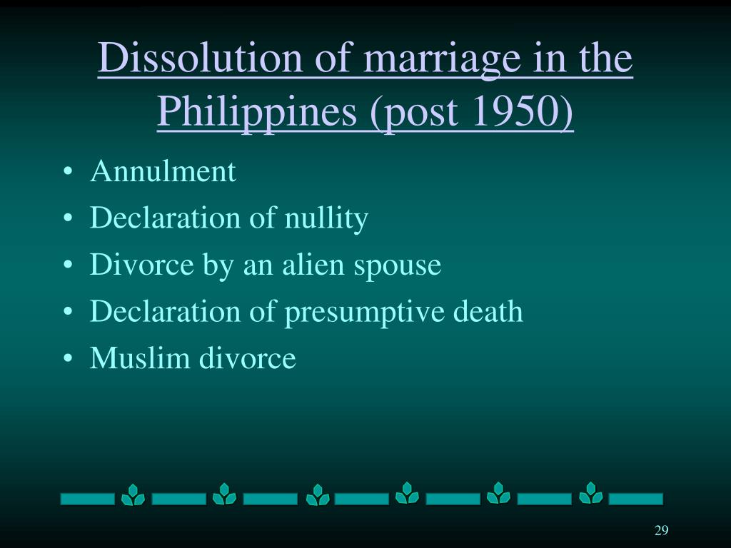 Dissolution of marriage in the Philippines (post 1950)