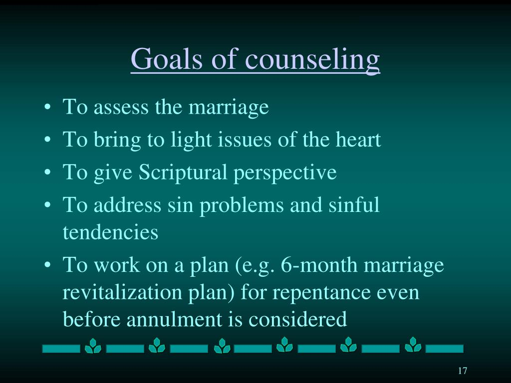 Goals of counseling