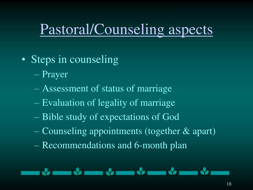 Pastoral/Counseling aspects
