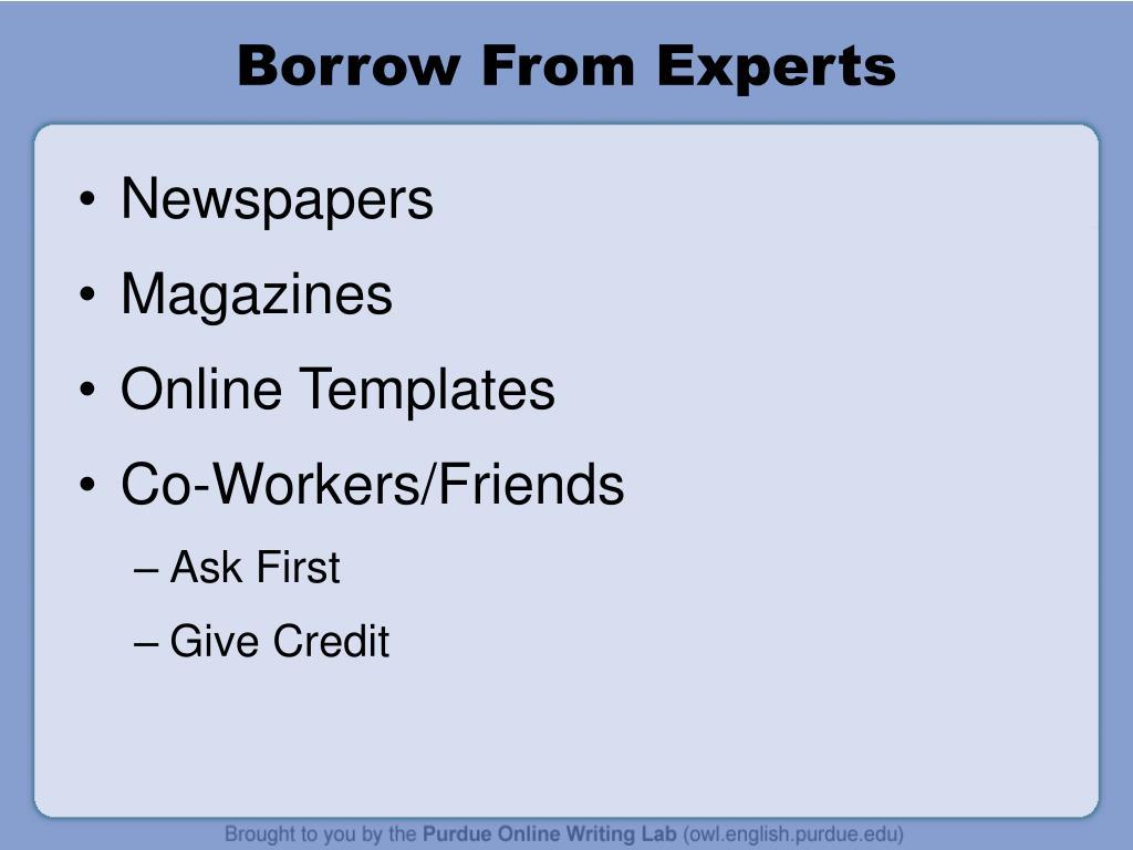 Borrow From Experts