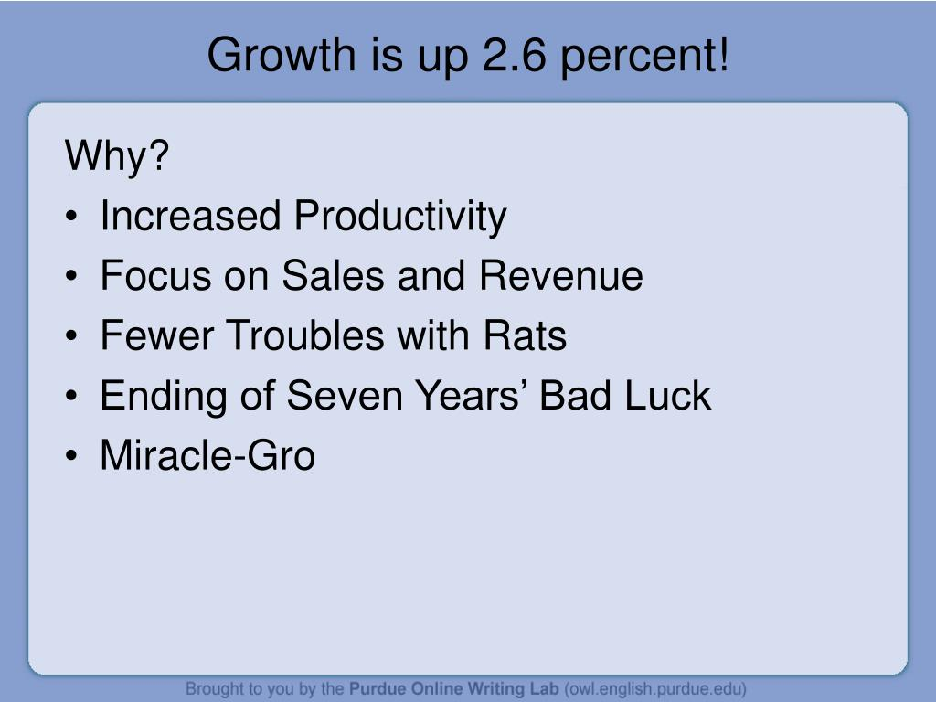 Growth is up 2.6 percent!
