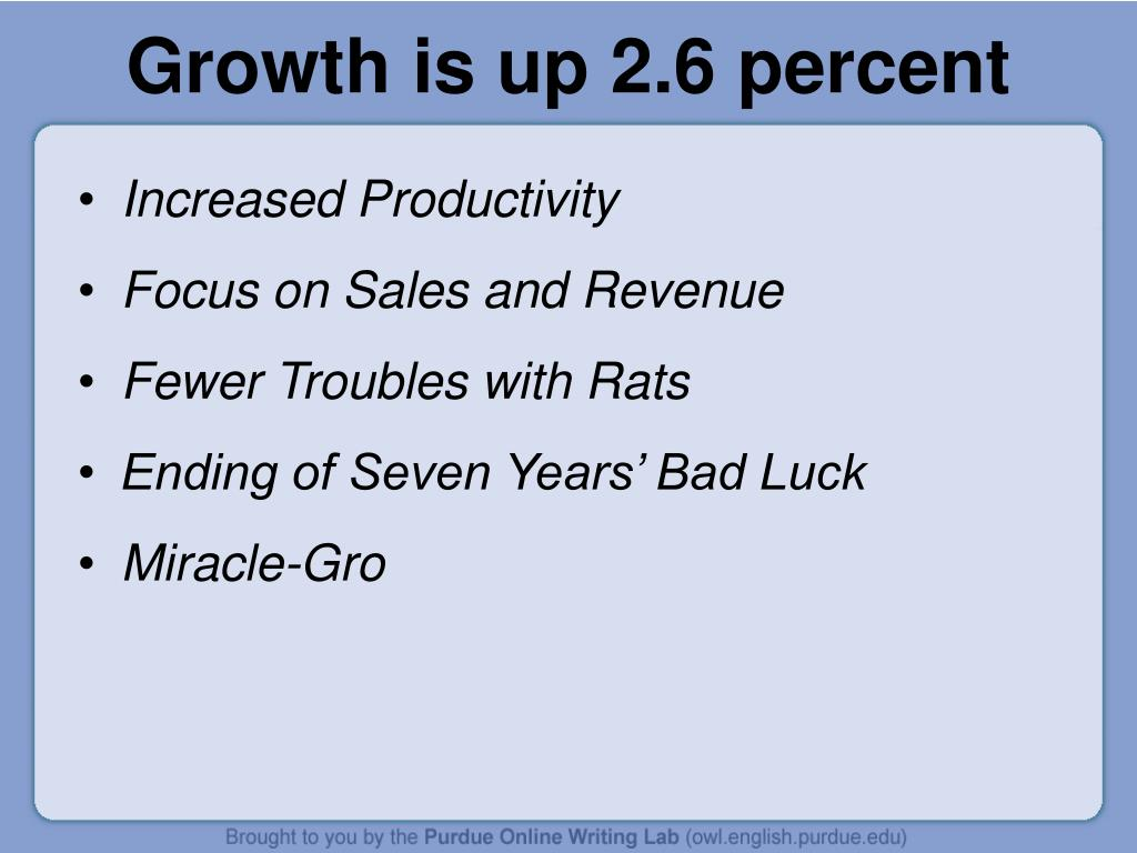 Growth is up 2.6 percent