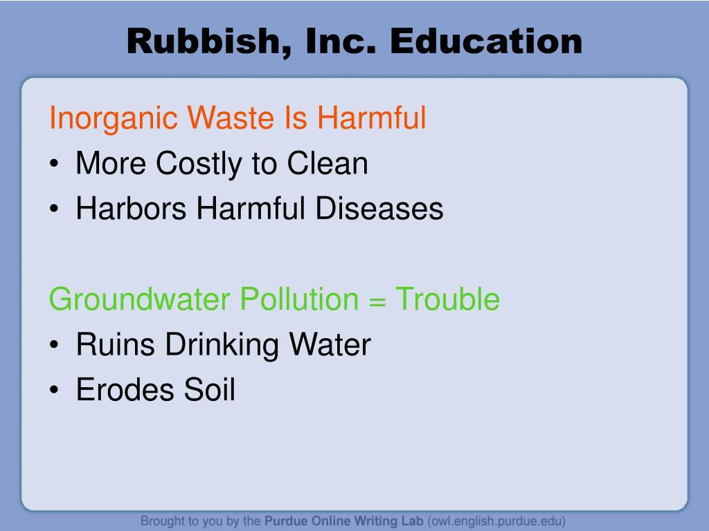Rubbish, Inc. Education