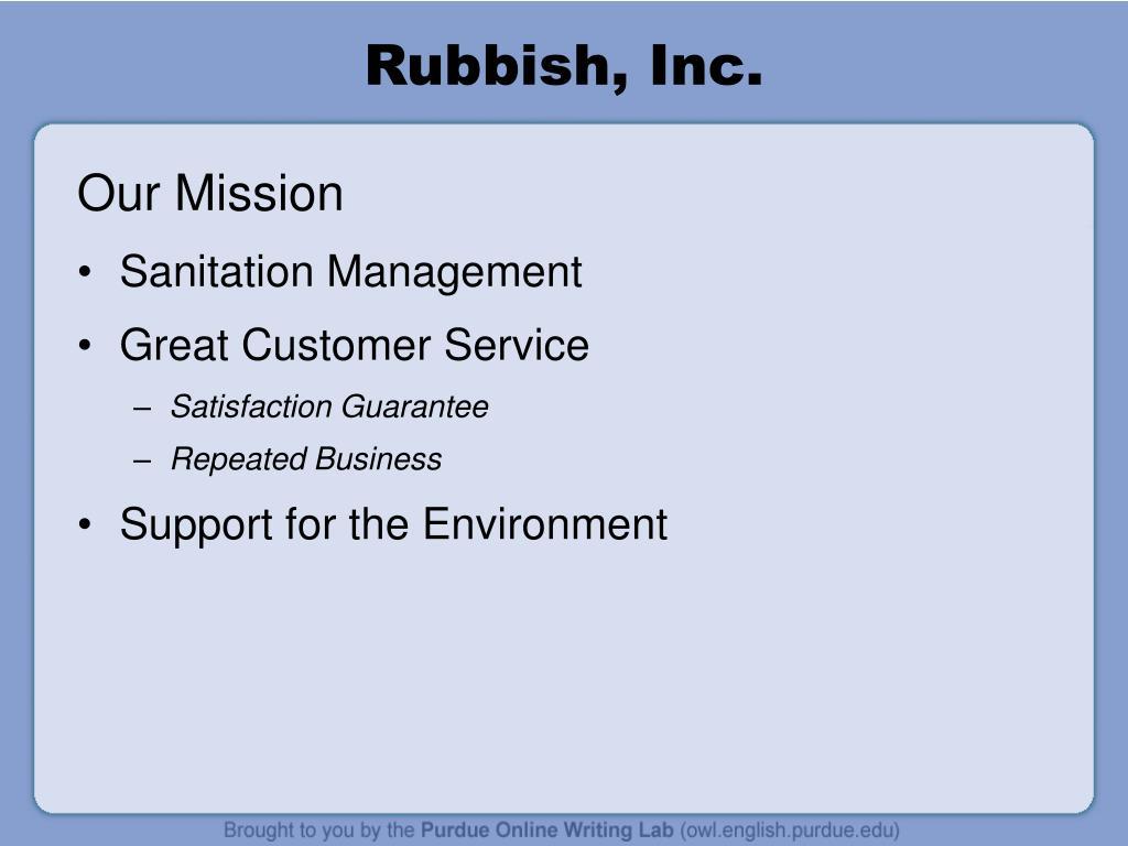 Rubbish, Inc.