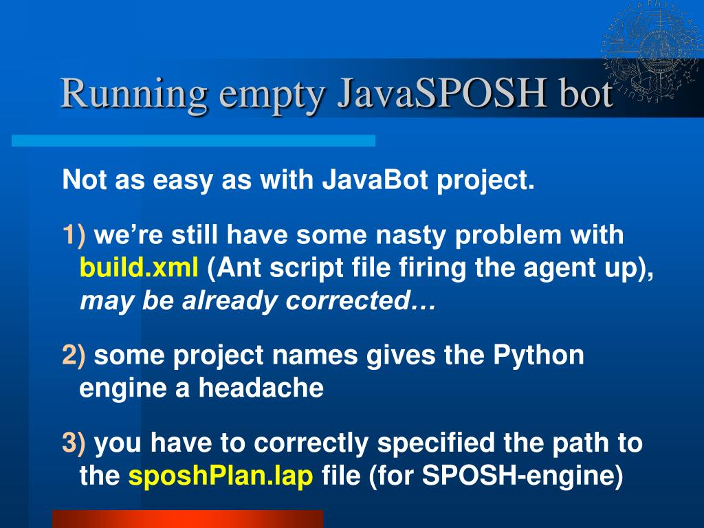 Running empty JavaSPOSH bot