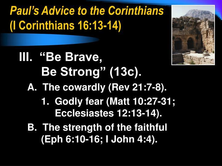 Paul's Advice to the Corinthians