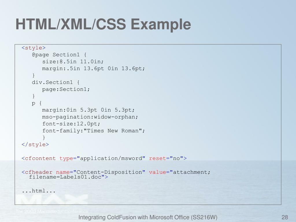 HTML/XML/CSS Example