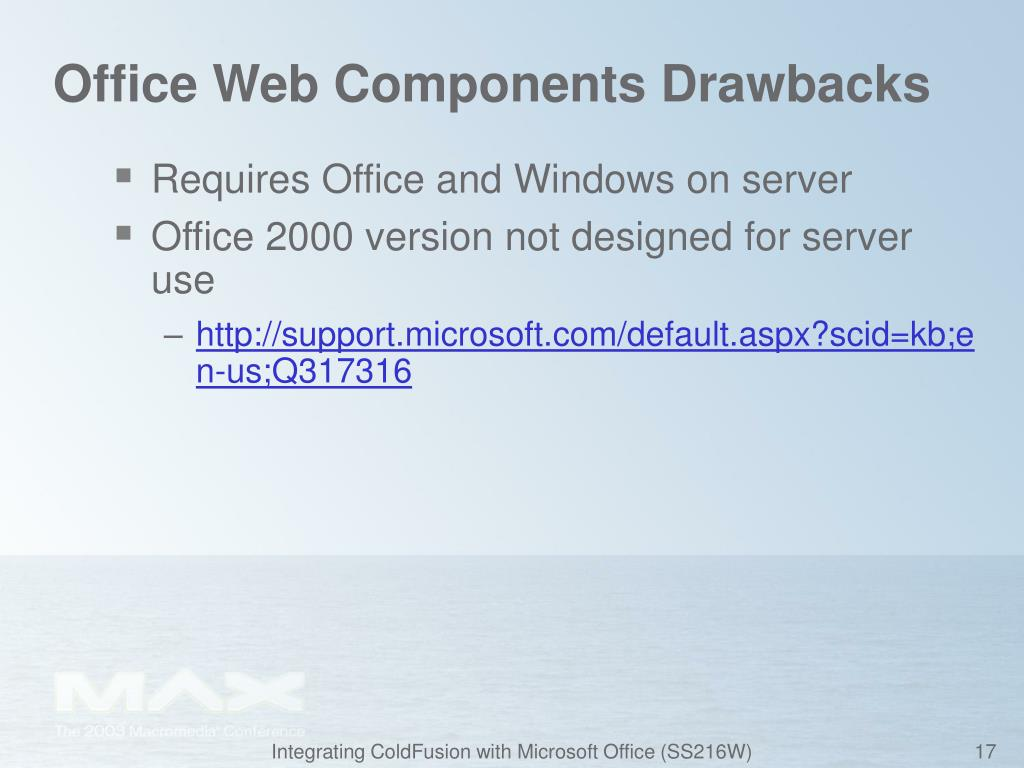 Office Web Components Drawbacks