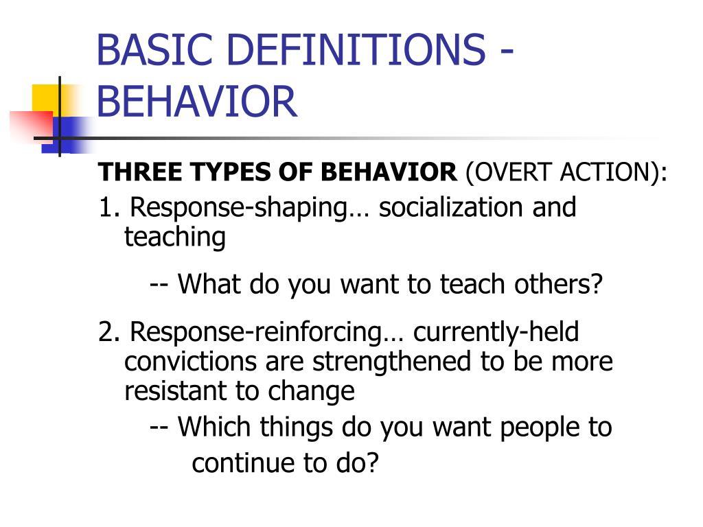 BASIC DEFINITIONS - BEHAVIOR