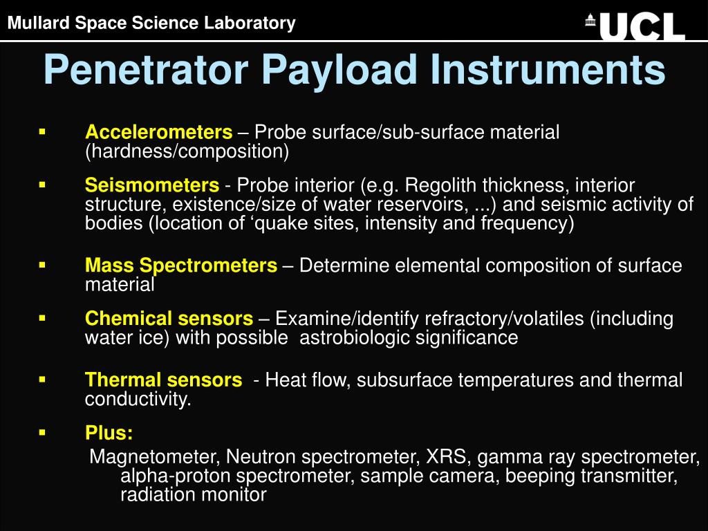 Penetrator Payload Instruments