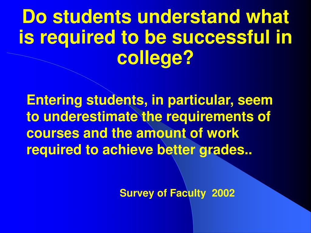 Do students understand what is required to be successful in college?