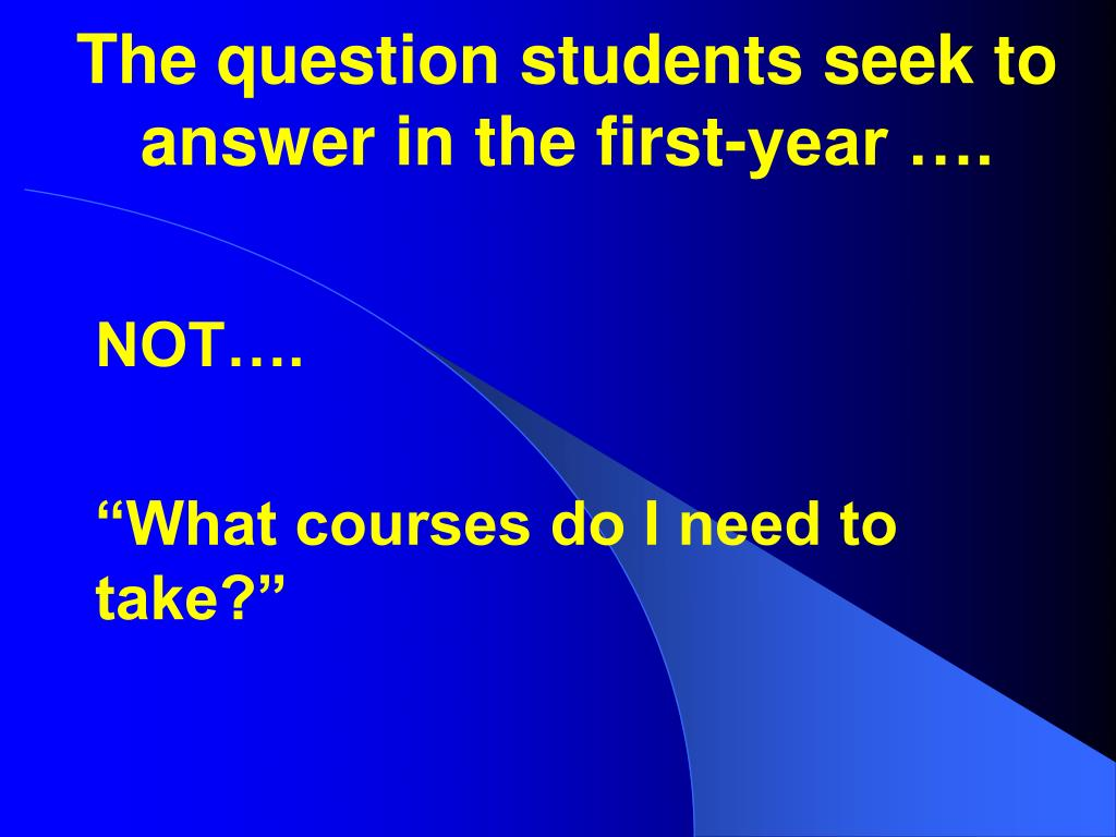 The question students seek to answer in the first-year ….