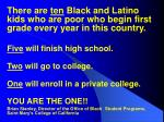 there are ten black and latino kids who are poor who begin first grade every year in this country