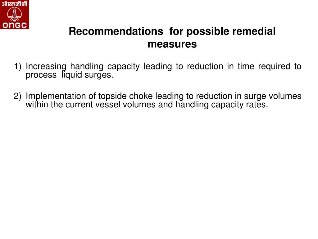 Recommendations  for possible remedial measures