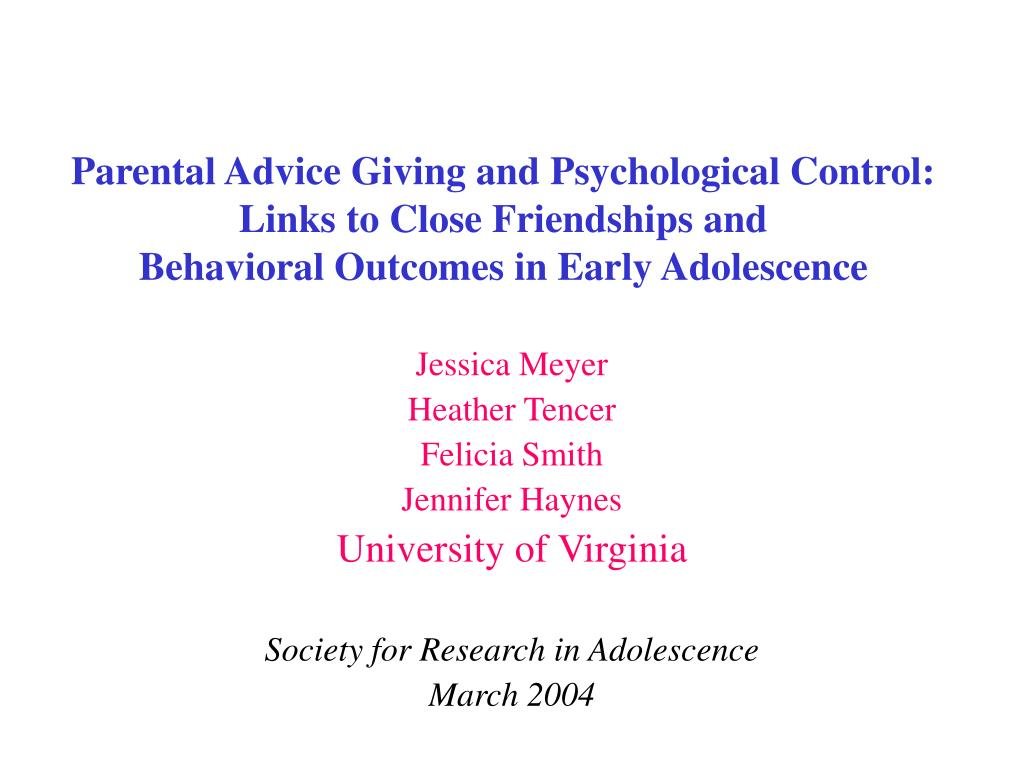 Parental Advice Giving and Psychological Control: