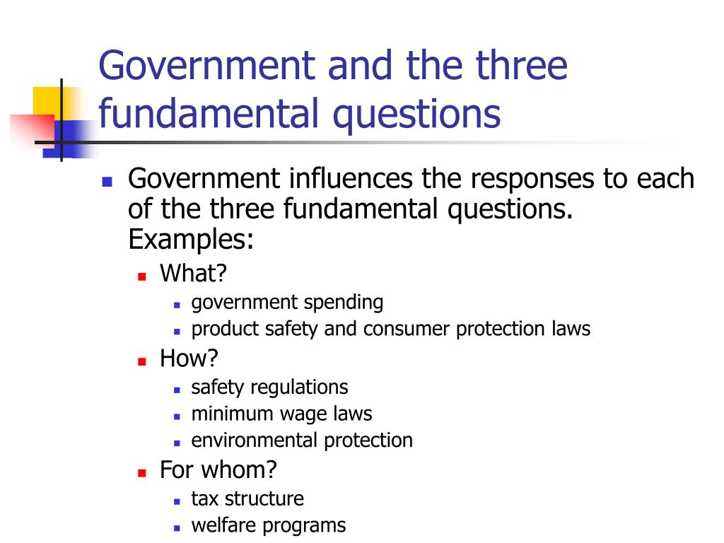 Government and the three fundamental questions