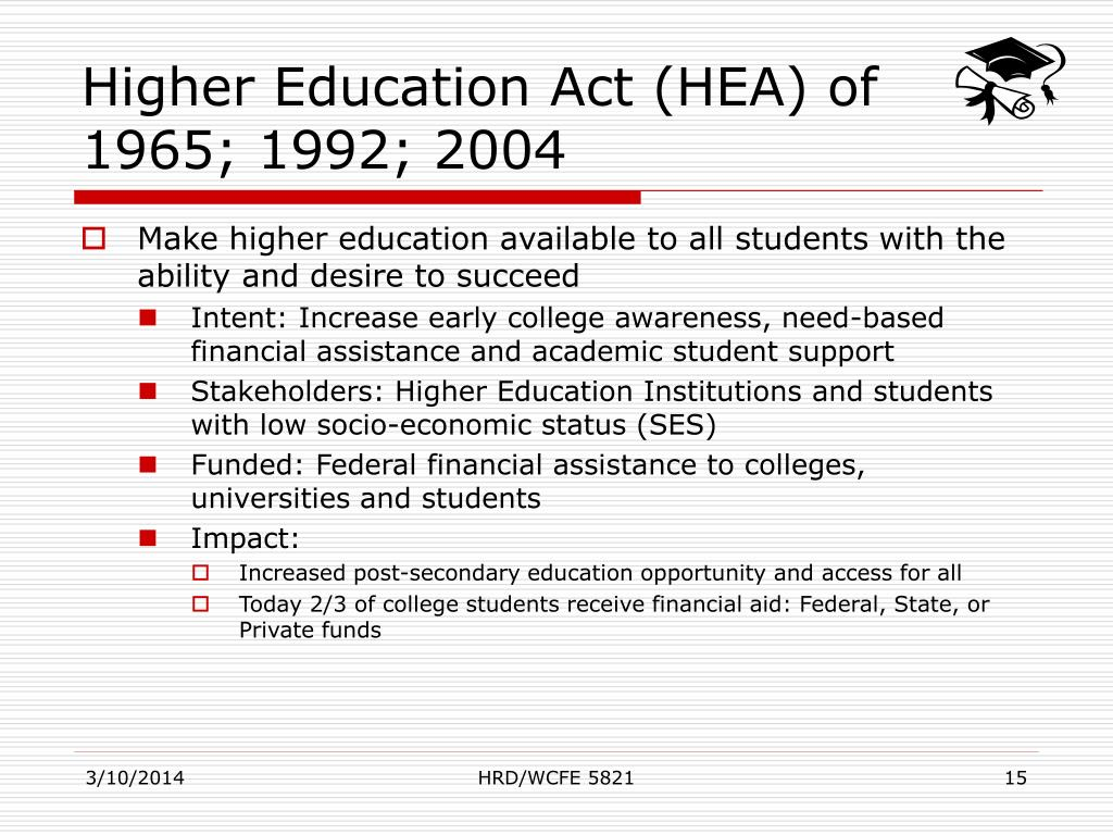 Higher Education Act (HEA) of 1965; 1992; 2004