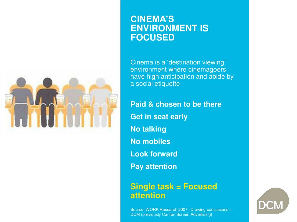 CINEMA'S ENVIRONMENT IS FOCUSED