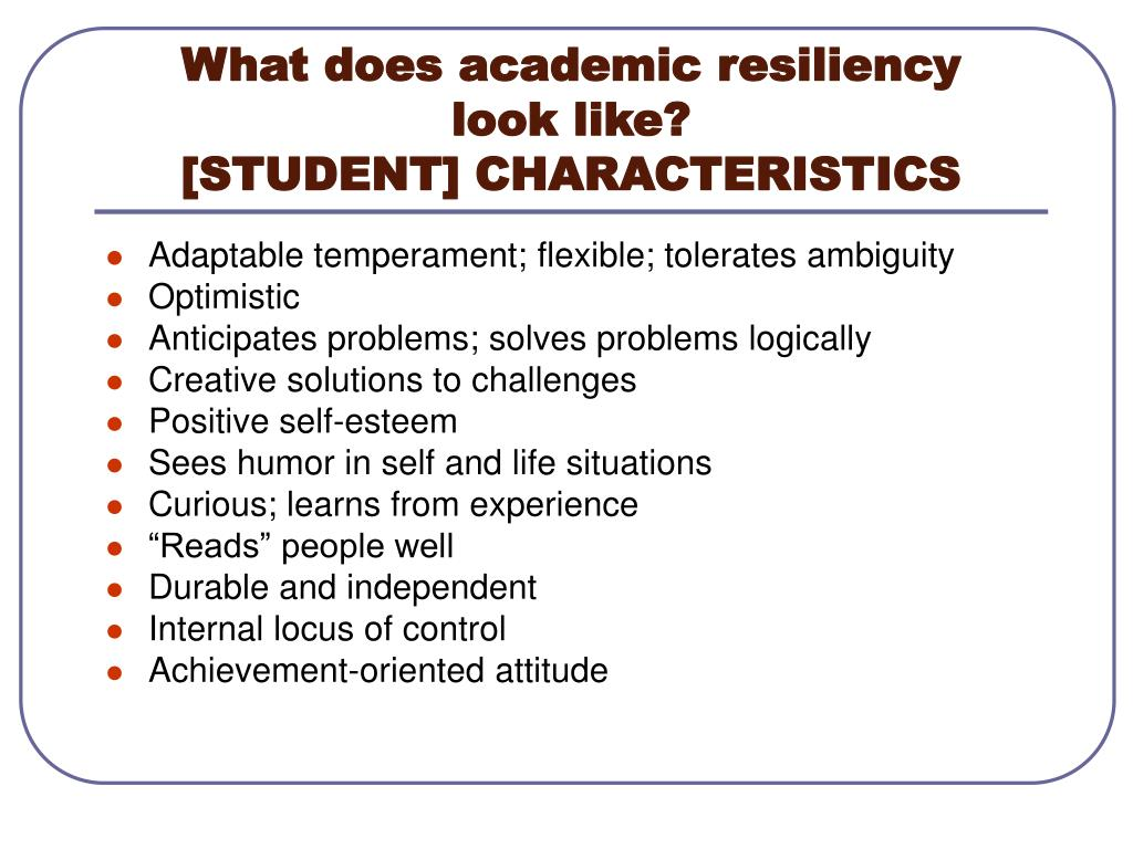 What does academic resiliency