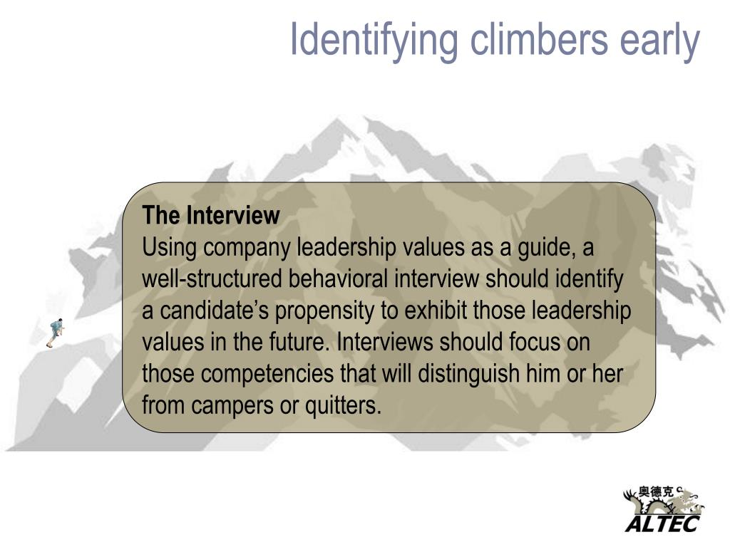 Identifying climbers early