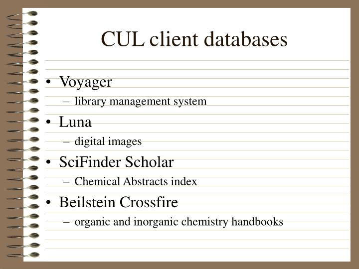 Cul client databases