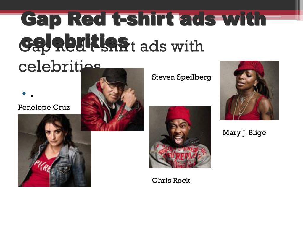 Gap Red t-shirt ads with celebrities