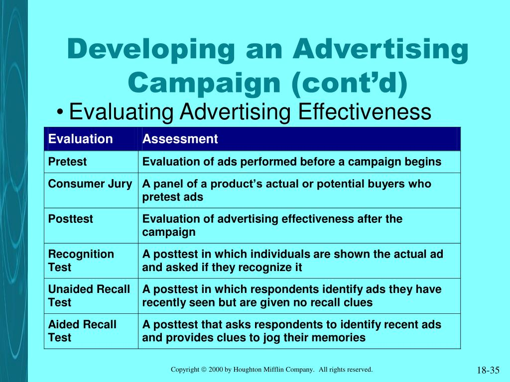 Developing an Advertising Campaign (cont'd)