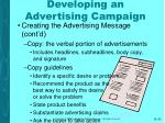 developing an advertising campaign30