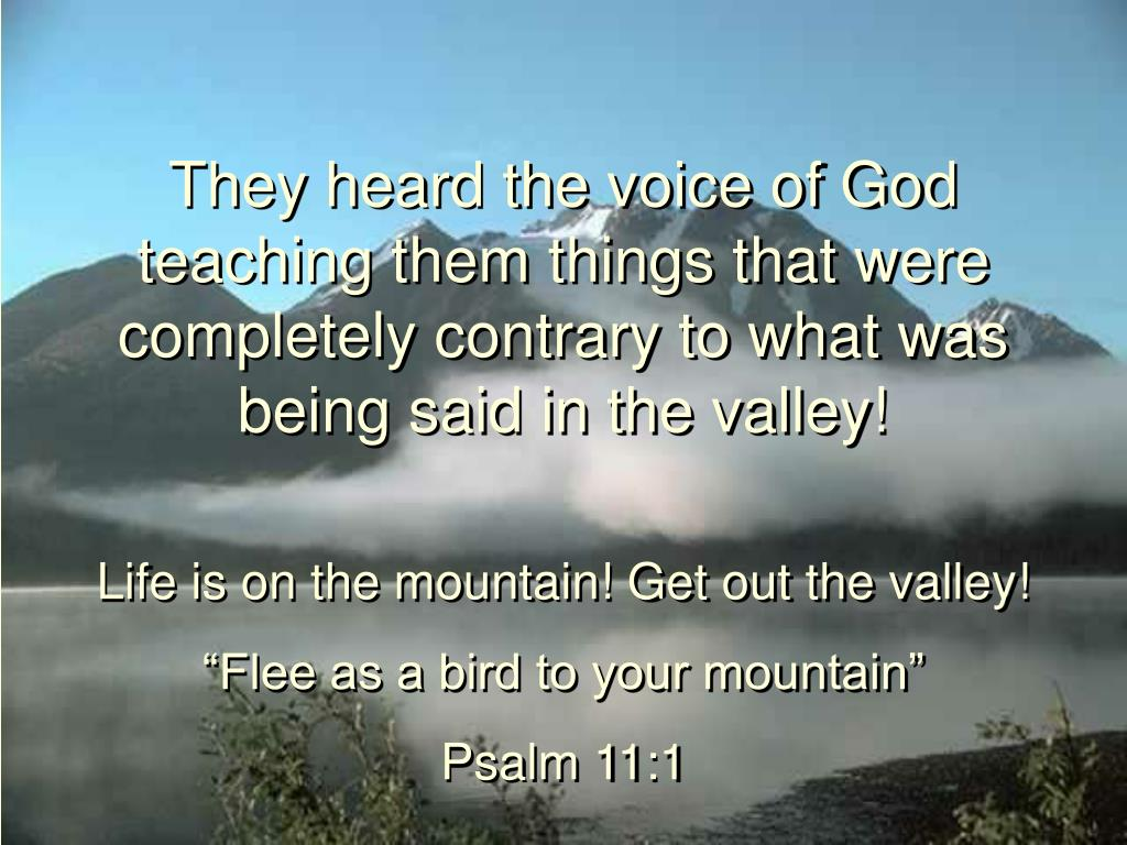 They heard the voice of God teaching them things that were completely contrary to what was being said in the valley!