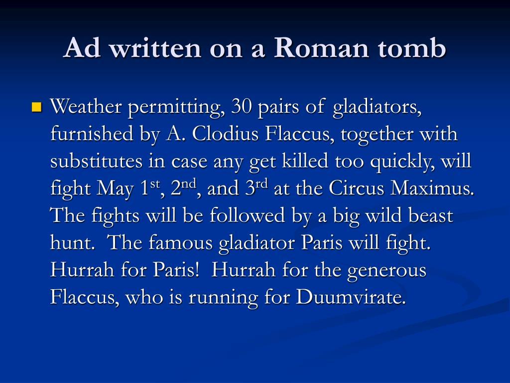 Ad written on a Roman tomb