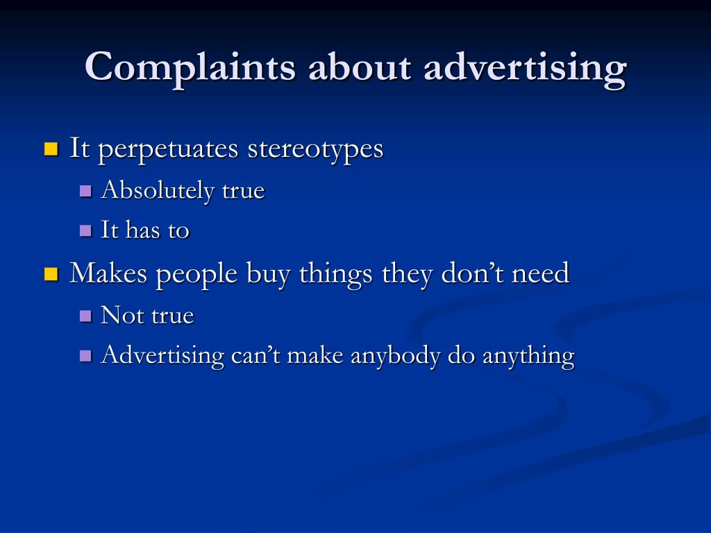 Complaints about advertising