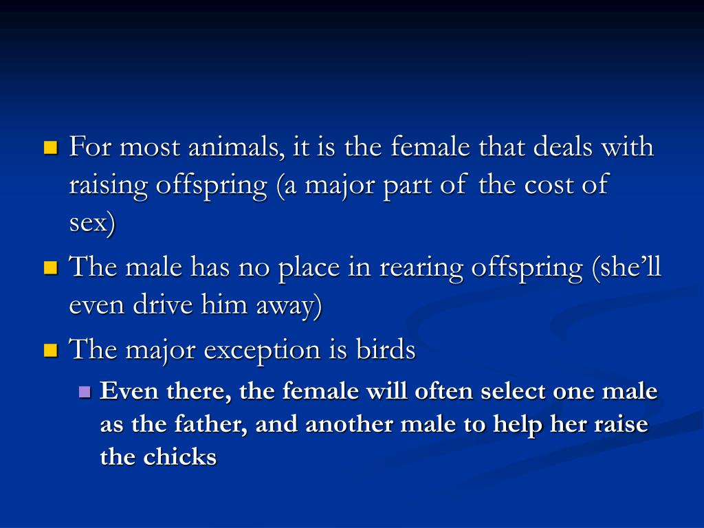 For most animals, it is the female that deals with raising offspring (a major part of the cost of sex)