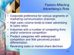 factors affecting advertising s role