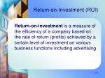 return on investment roi