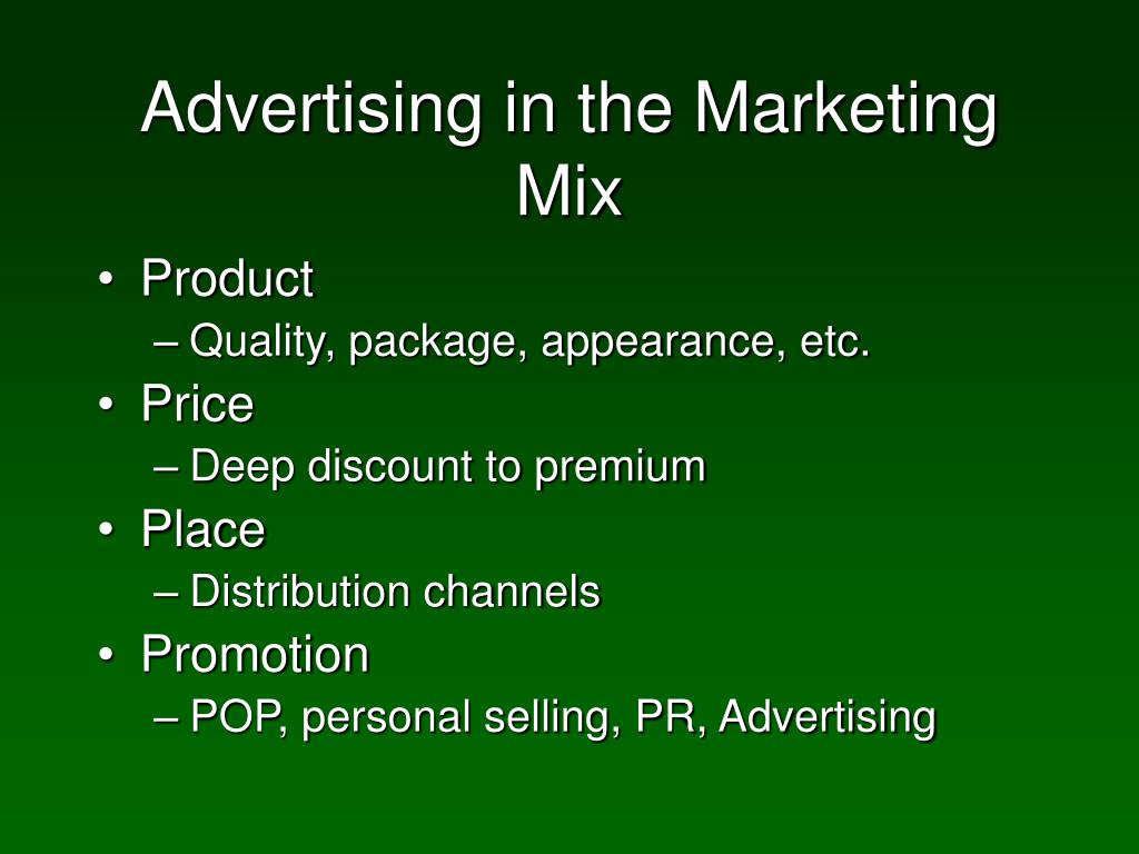 Advertising in the Marketing Mix
